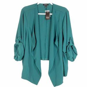TORRID Women's Drape Open Front Blazer Dark Green